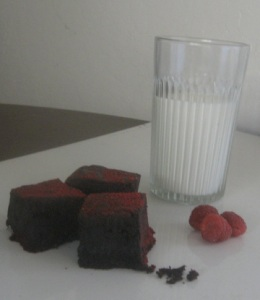 raspberry dusted brownie